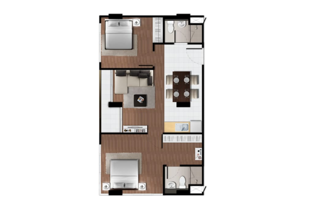 Room Layout with 2 bedrooms + 2 bathrooms, and proper living room with kitchen and dining area