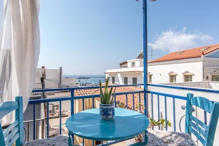 Kamara Rooms- Blue, sea view.