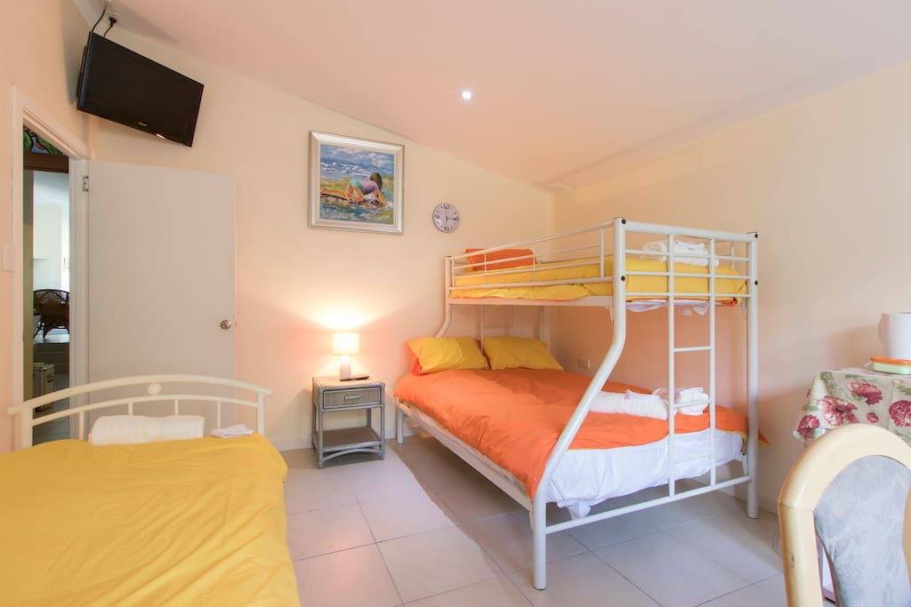 Room - all beds have innerspring mattress for a good nights sleep and lockable internal door.  Plus your own tv and unlimited internet access.