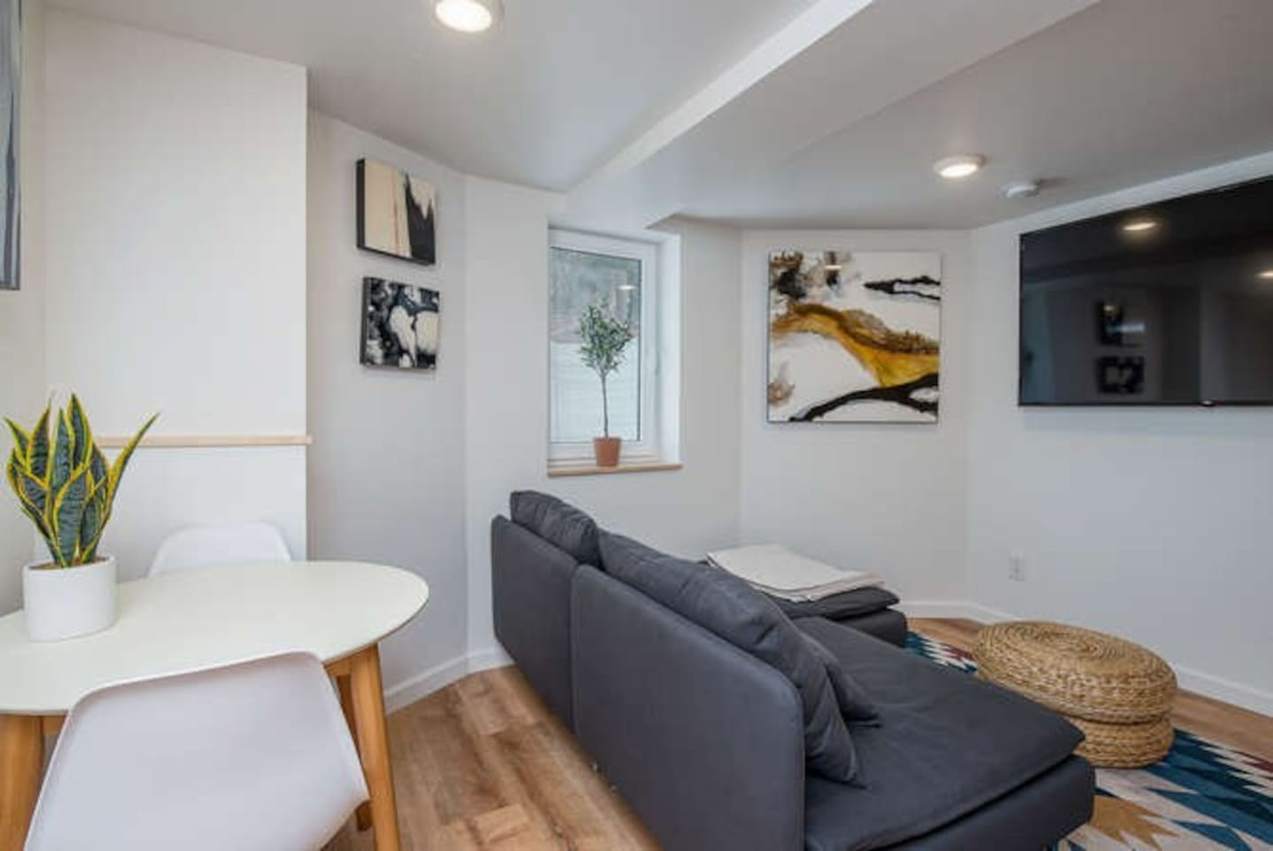 Living and dining area with smart tv