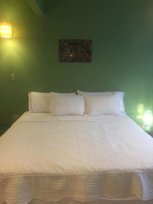 King Size Bed and hand painted tile work from Tulum