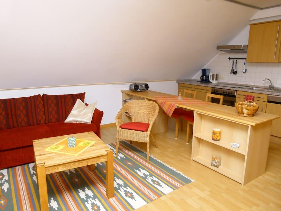 Wohnraum mit Küchenzeile und Essgelegenheit