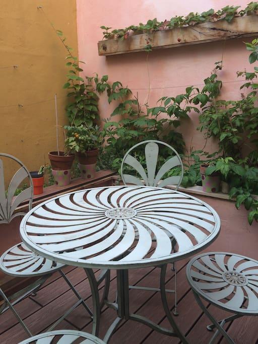 cour sans vis à vis - table avec 4 chaises