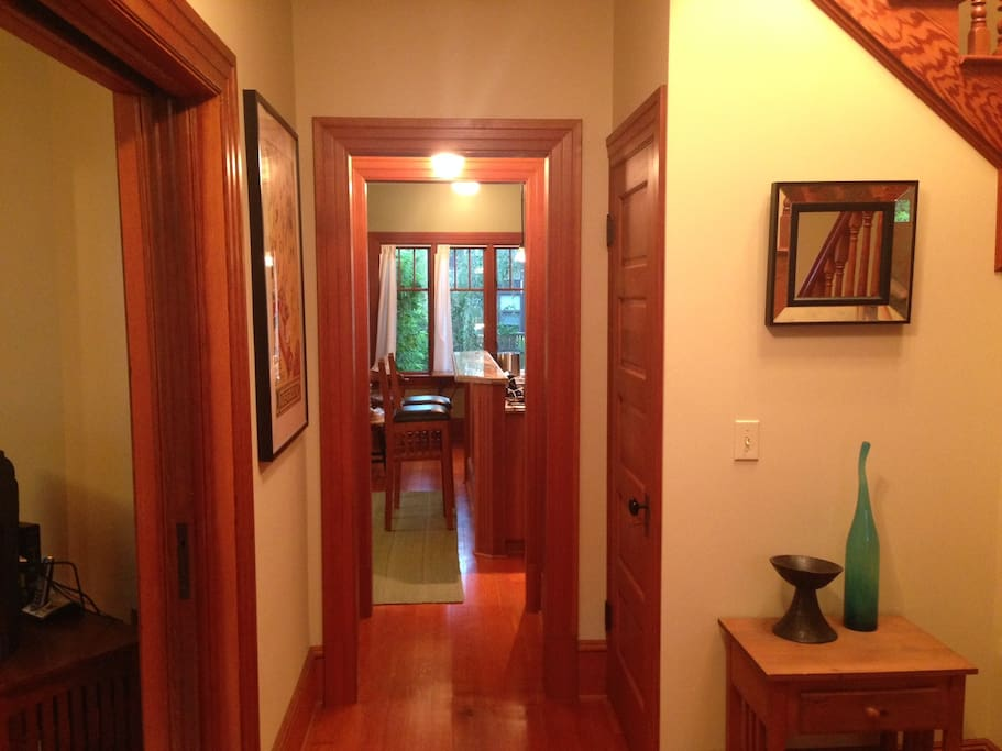 And here's that new decor. This hall leads from the entryway to the kitchen.