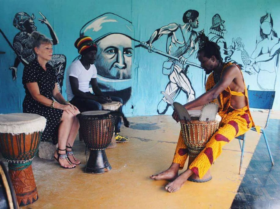 Weekly drum classes minutes from Buff Bay.