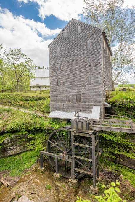 The wheel was added last year.  The Fairfield County Historical Parks estimates that the grist mill will be churning out flour and corn meal late summer of 2017.