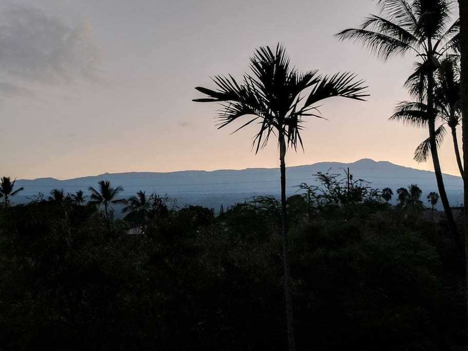 View of volcano from lanai in the morning