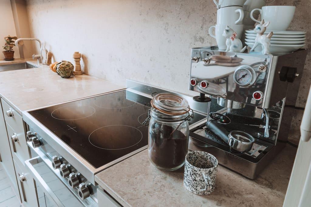 Bertazzoni stove and italian espresso machine