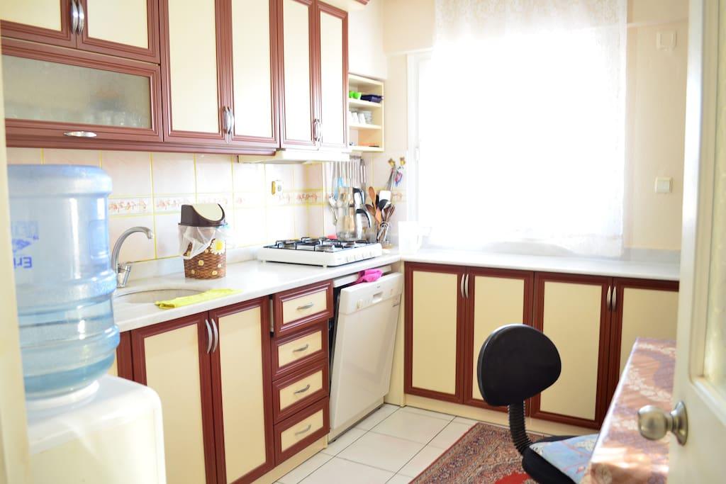 Mutfakta sibil, bulaşık makinesi ve ocak bulunuyor.