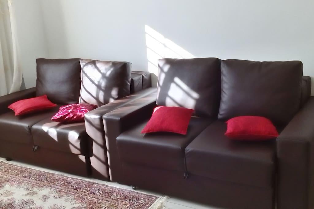Sala de estar com 2 sofás cama.