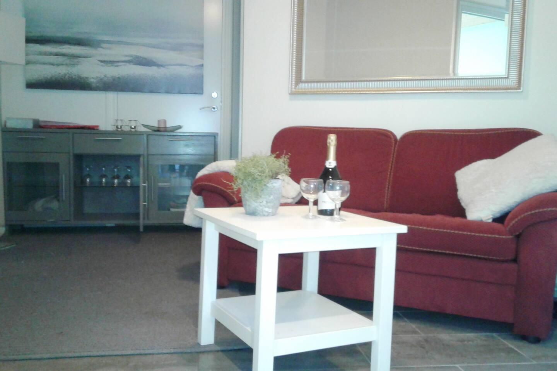 Koselig liten stue med sovesofa og TV