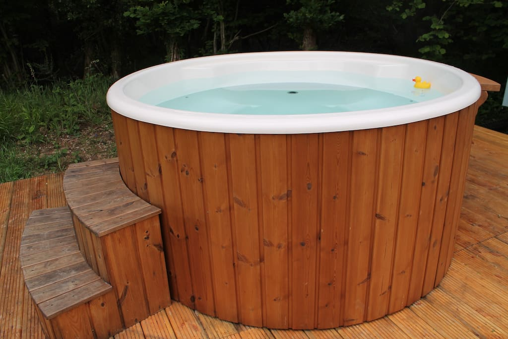 The wood-fired hot tub