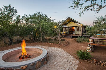 Luxury Tented Safari Camp with mountain views.