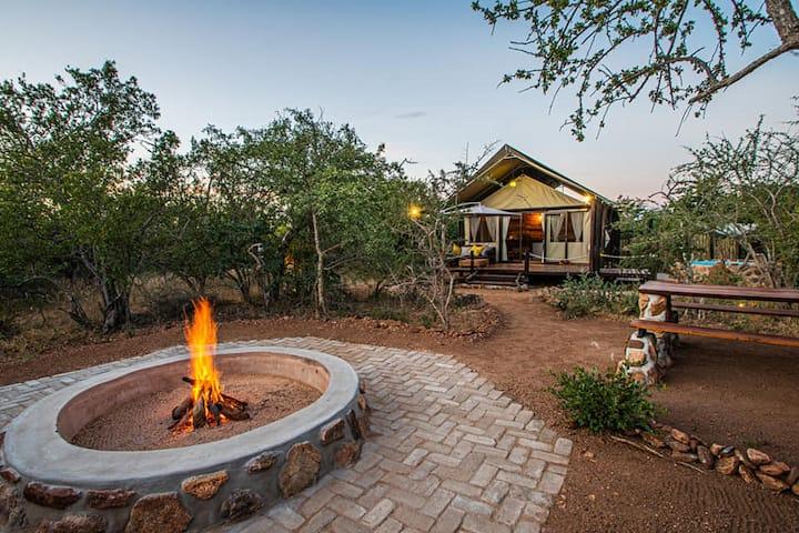 Luxury Tented Safari Camp with mountain views.