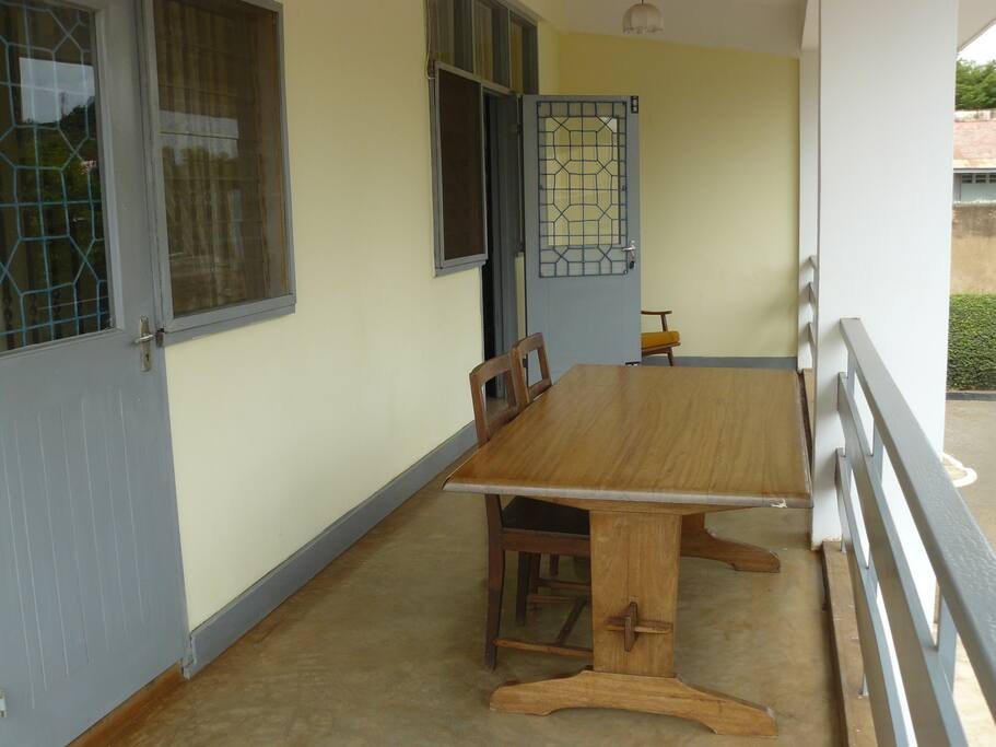 Balcony with dining room table