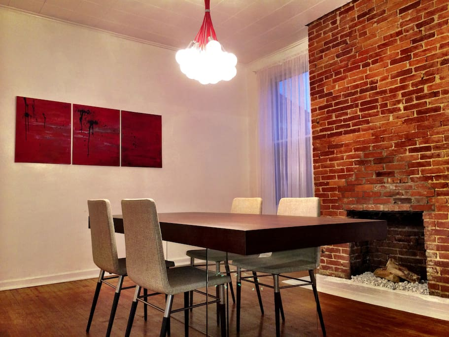 Original, one of a kind modern artwork and furniture fill the home