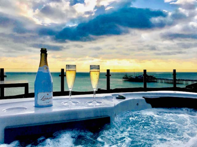 The view from the hot tub has to be seen to be believed. It's spectacular. This photo was taken on 2/2/19 by guests who kindly gave us permission to use it. Brighton is an all year round destination.  When the tub's 40 degrees nothing else matters...