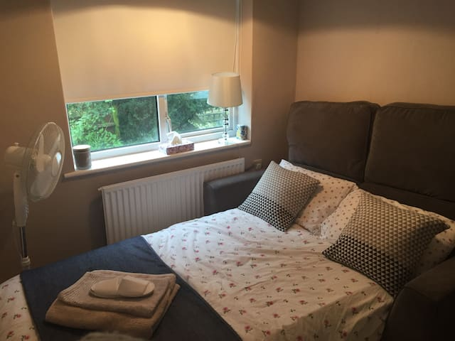Sofa bed in spare room, perfect for short stays