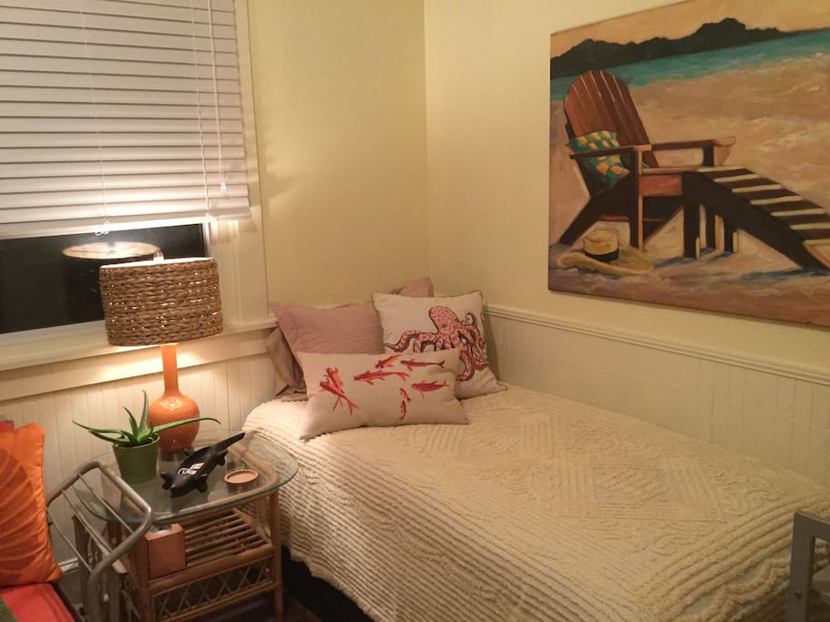 Comfy new twin bed with down alternative topper.