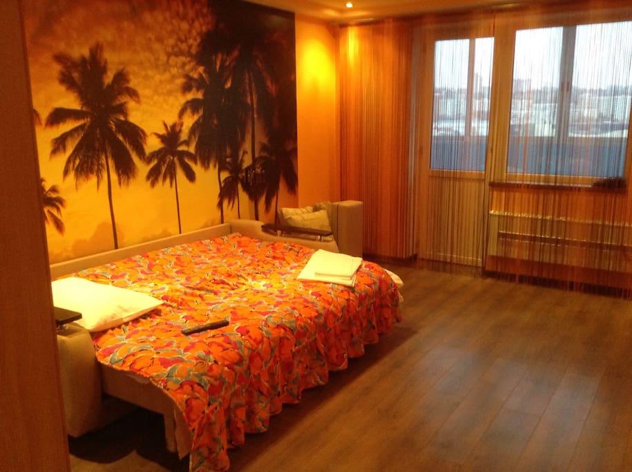 Спальня. Двухместный диван-кровать. Очень удобный! Из этой комнаты есть выход на балкон с прекрасным видом.