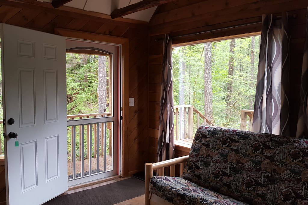 New curtains and inside view of the screen door. 6-8-17