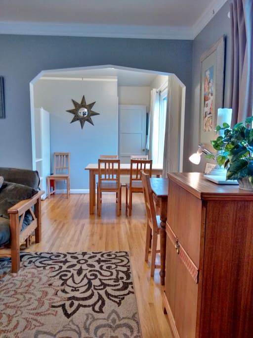 Dining table can seat 6 people. One attachable baby seat with food tray is provided. (Stored in hall pantry closet).