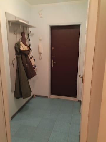 Холл, вешалка, металлическая дверь с двумя замками ,есть домофон,