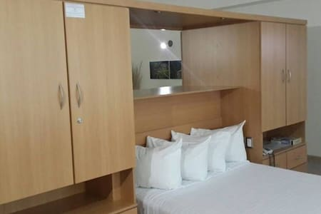 Comfortable full size bedroom with plenty of closet space.