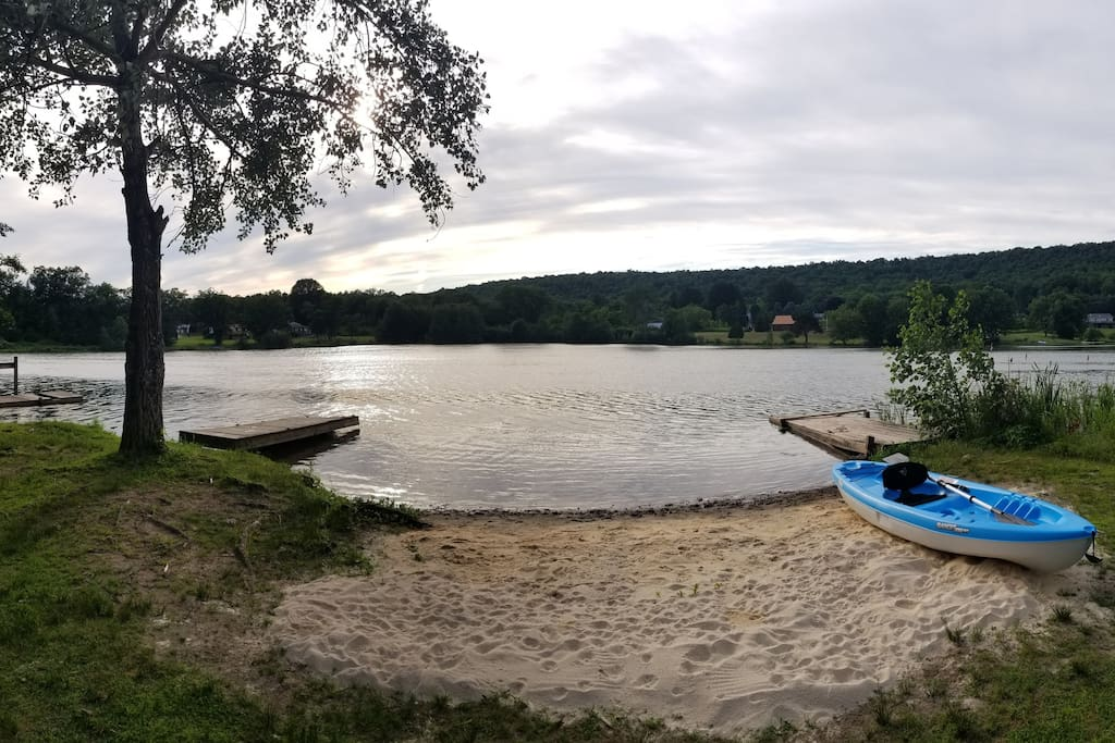 Shove off from our stunning private beach in one of our two brand new kayaks to explore the lake