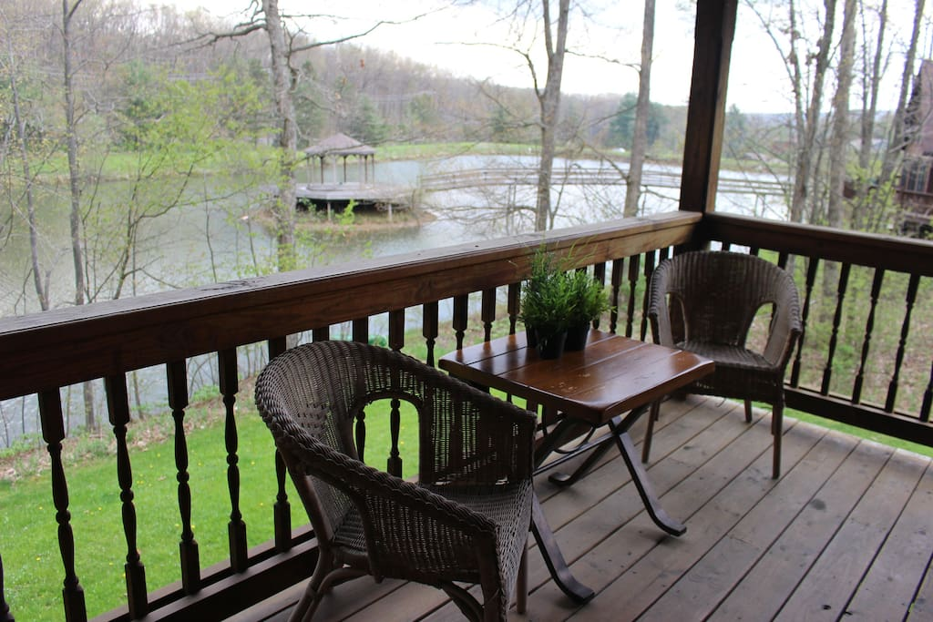The view of the pond and gazebo from the wrap-around porch