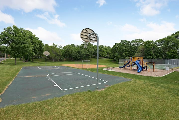 Down the block has tennis courts, basketball and playground