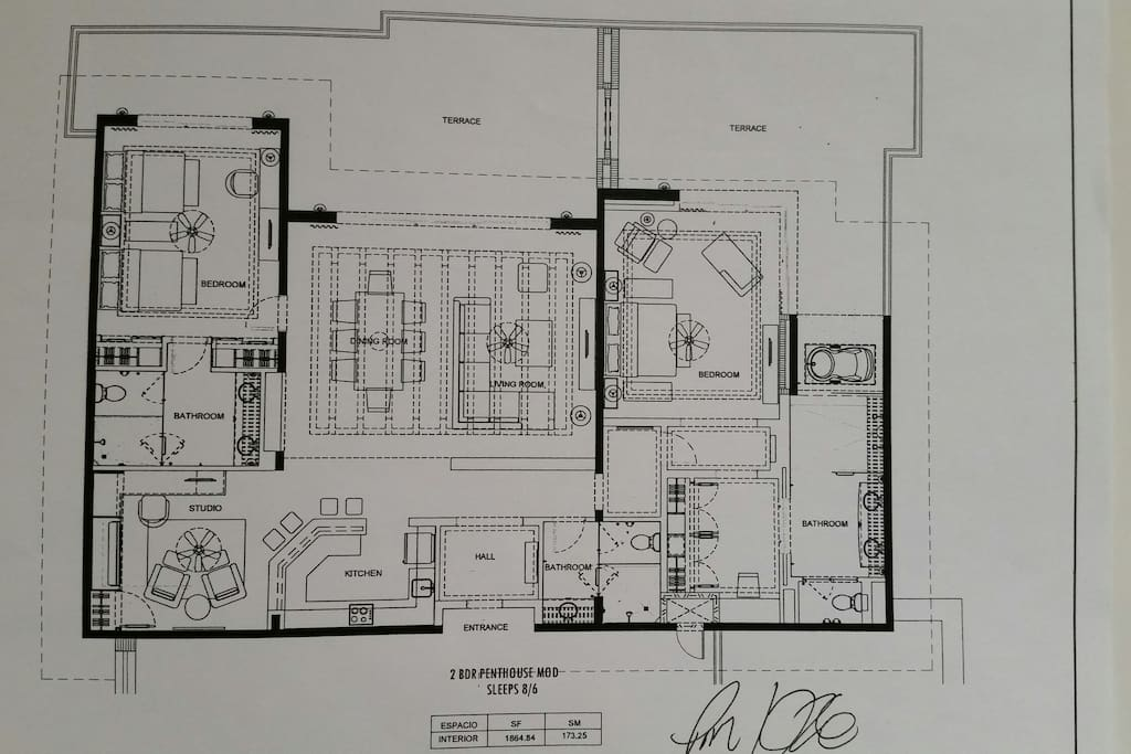 Floor plan of the penthouse