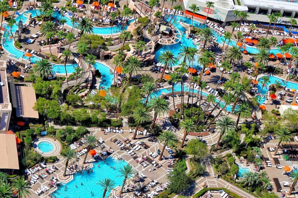 You have full access to the MGM Grand pool complex and lazy river.