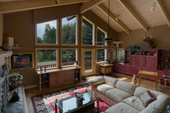 Sun Valley home with head-on view of ski mountain.