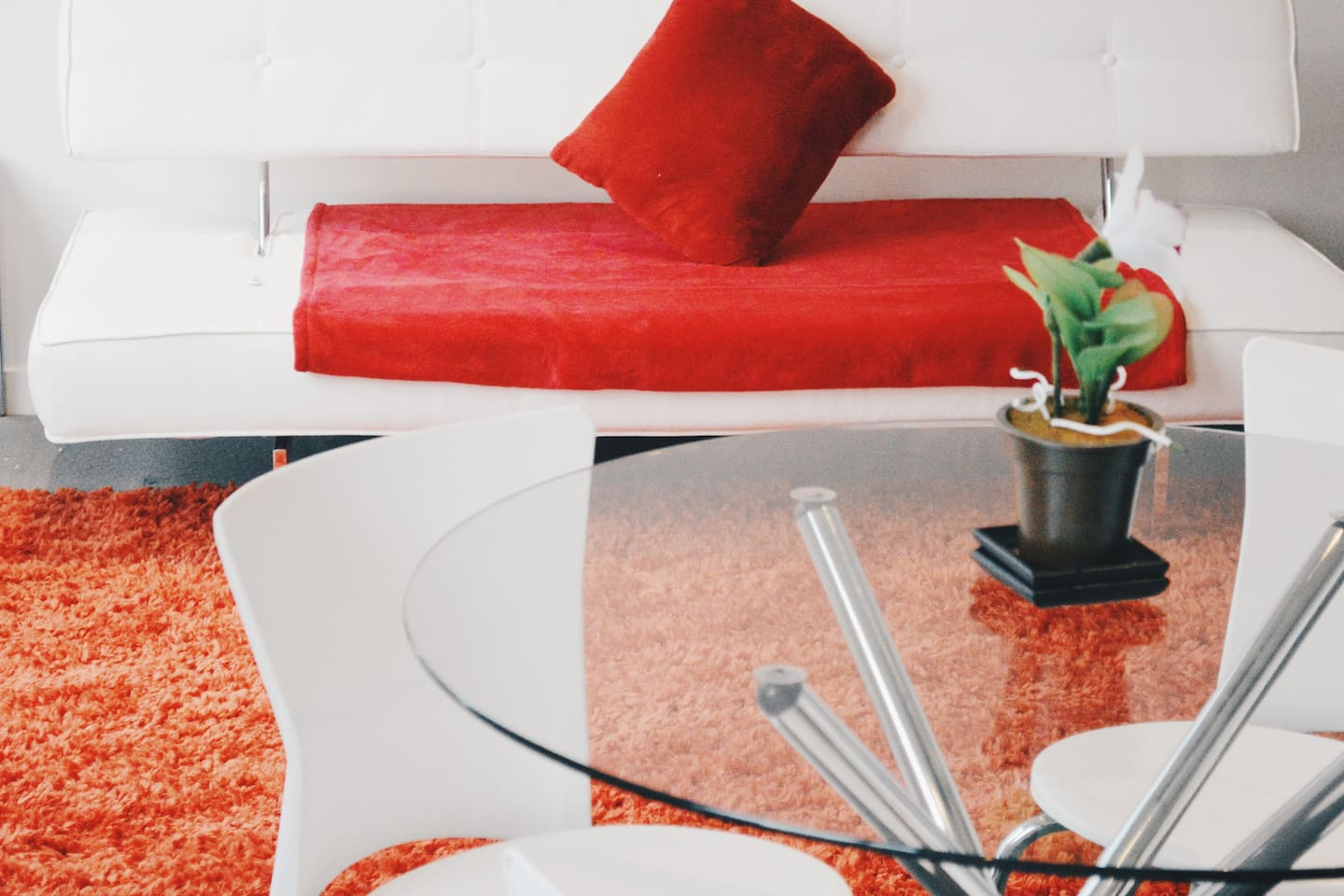 Your table to indulge, and sofa bed to relax.
