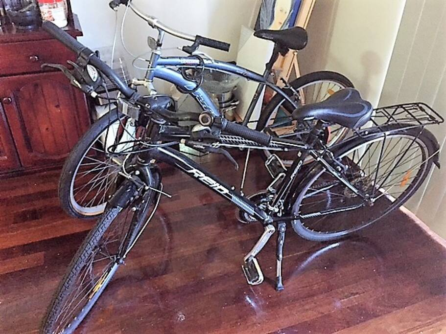 A couple of the seven or eight bikes you can use for free during your stay.