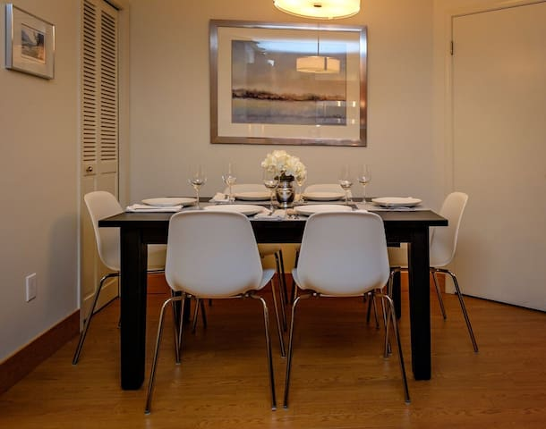 Spacious dining room for six