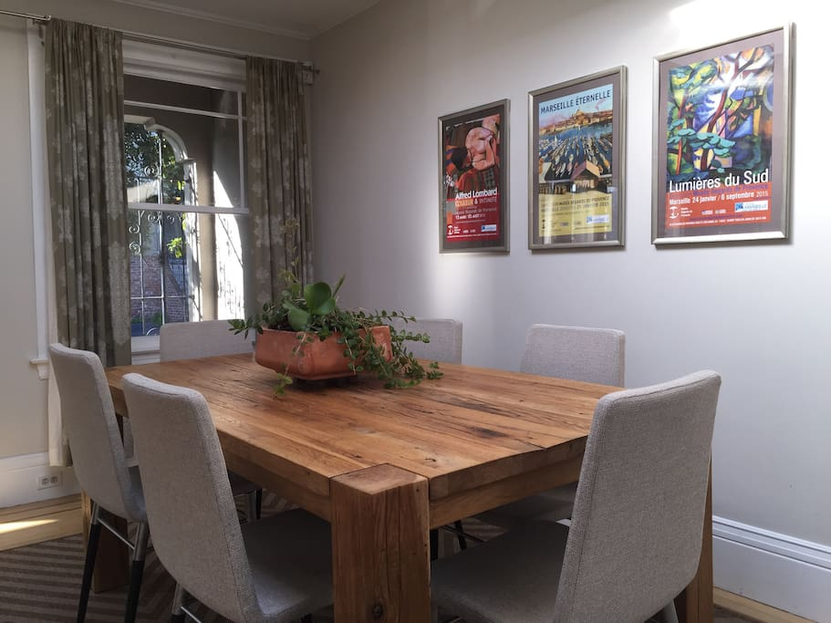 Enjoy California cuisine on this beautiful restored barnyard wood table.