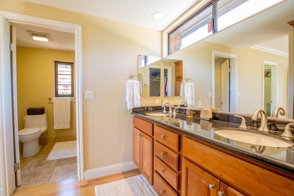 Master Bedroom's connected Bathroom with dual sinks, bathtub, 2 Walk in Closets.