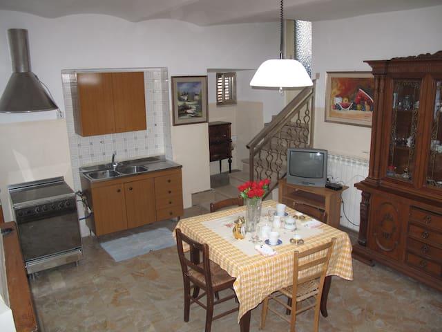 Cucina e soggiorno con caminetto