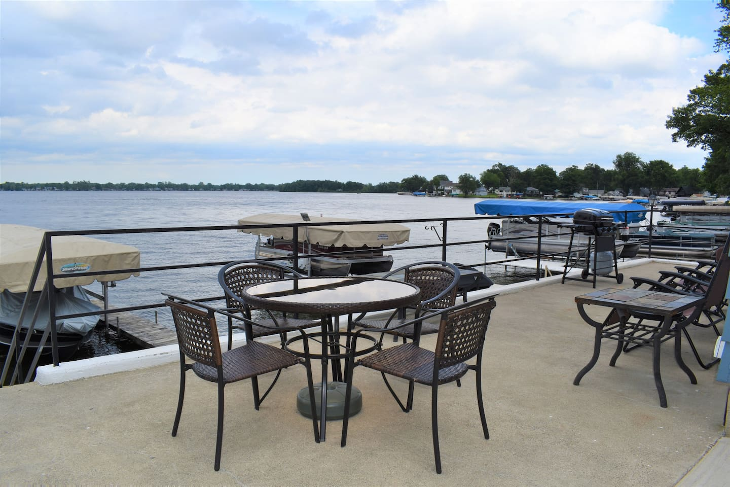 Upper Patio with commanding views of Lake Manitou