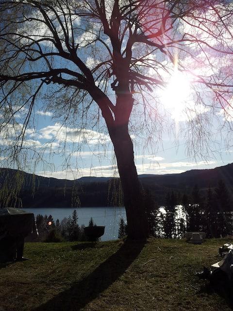 Countryside, panoramic lake view