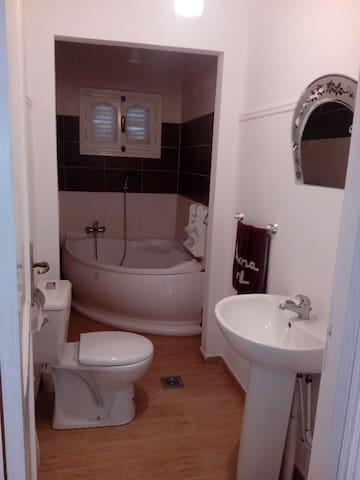 Salle d'eau et au fond la salle de bain.