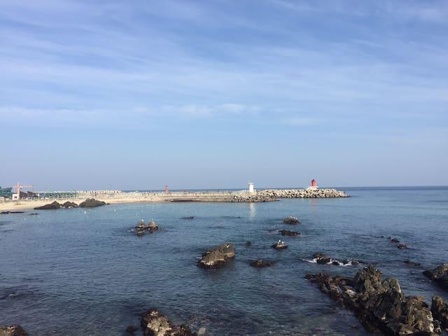 동해시 일출로에 위치한 전망 좋은 옥상을 가진 송가네 바다별채
