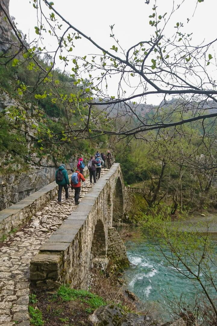 Walking on the old stone bridge
