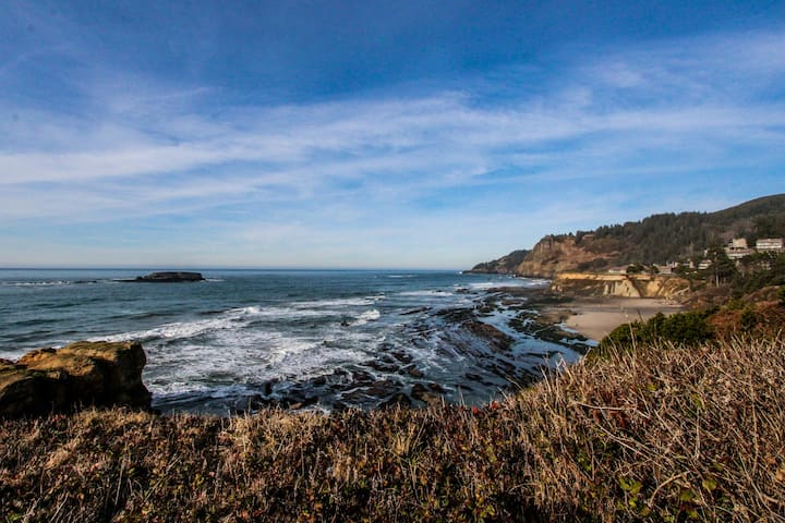 Oceanfront chalet w/ views of Pacific, great location - dogs welcome!
