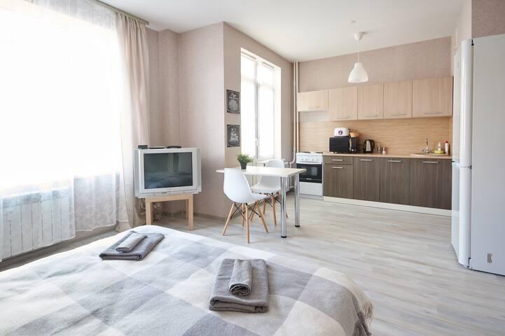 Уютная студия на Московском шоссе (новый дом)