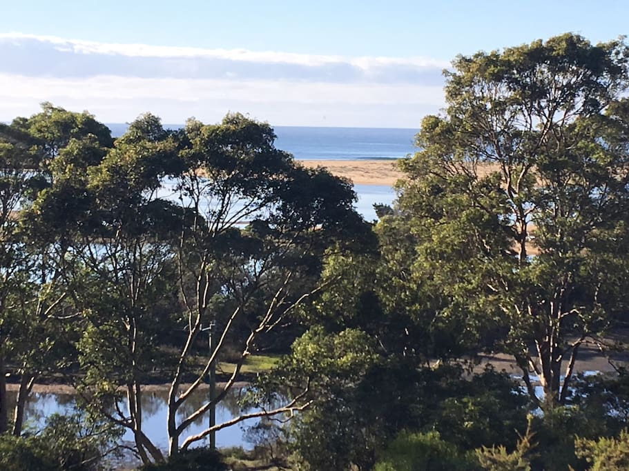 View from our main deck, Bega River Estaury, Tathra Beach.