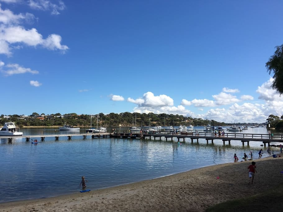 The famous Bicton Baths ... only 300m walk away