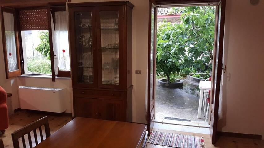particolare accesso al giardino dalla cucina soggiorno